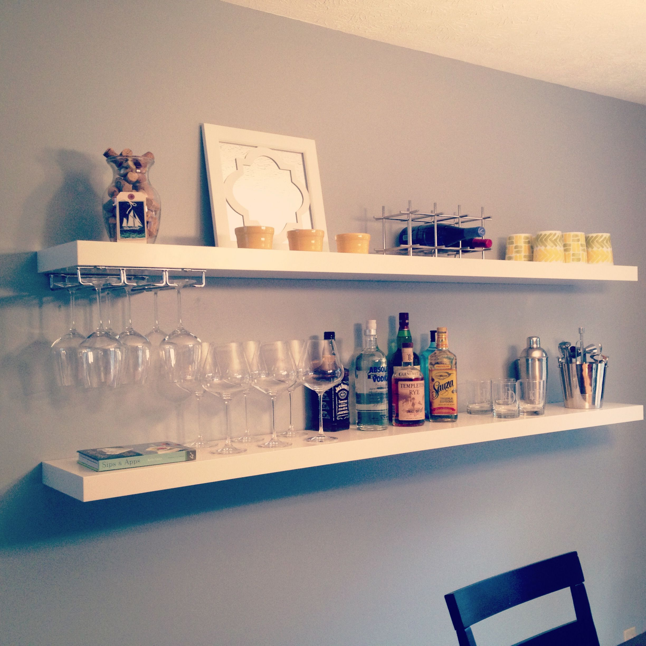 easy diy bar using ikea shelves via livingwithaboy floating bookcase dimensions library inch corner shelf hanging without studs wide unit white coat rack how deep standard closet