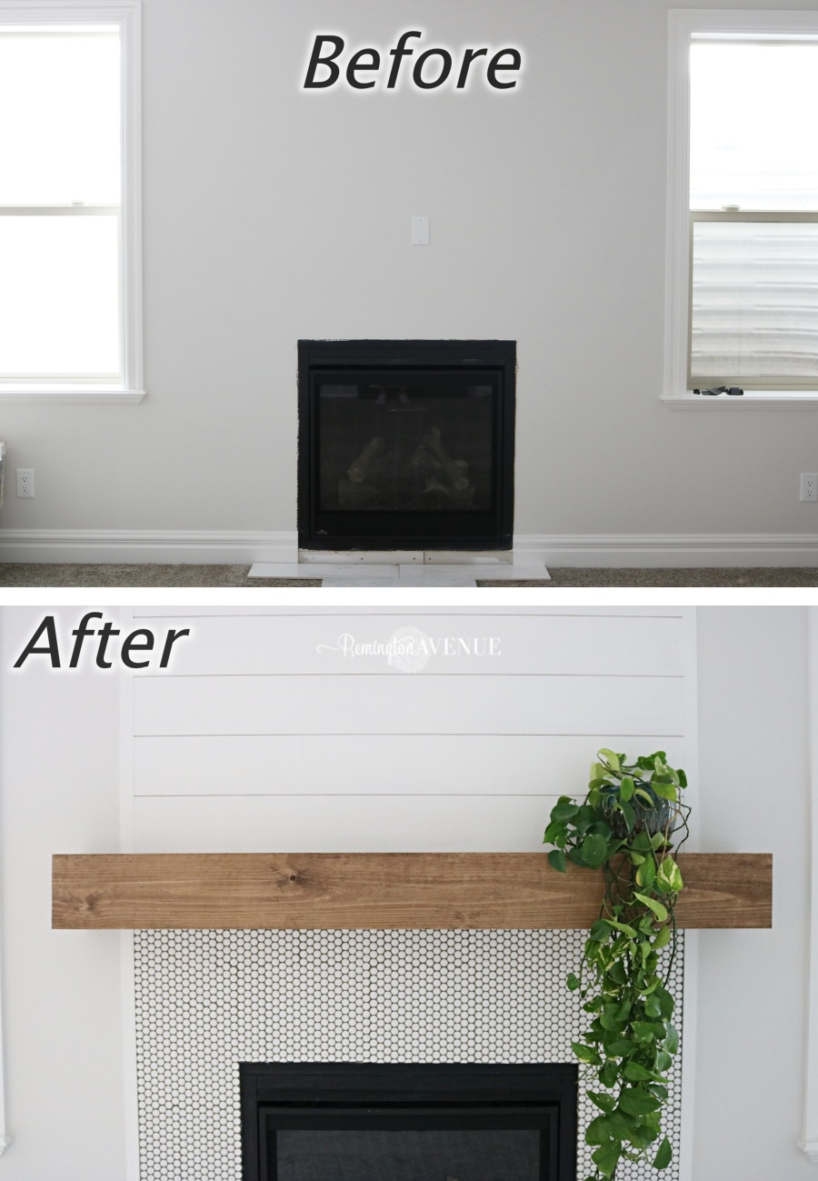 easy diy wood mantel remington avenue basement fireplace beforeafter floating shelf here how build your own coat rack storage unit shelving with cupboard over window wire wall
