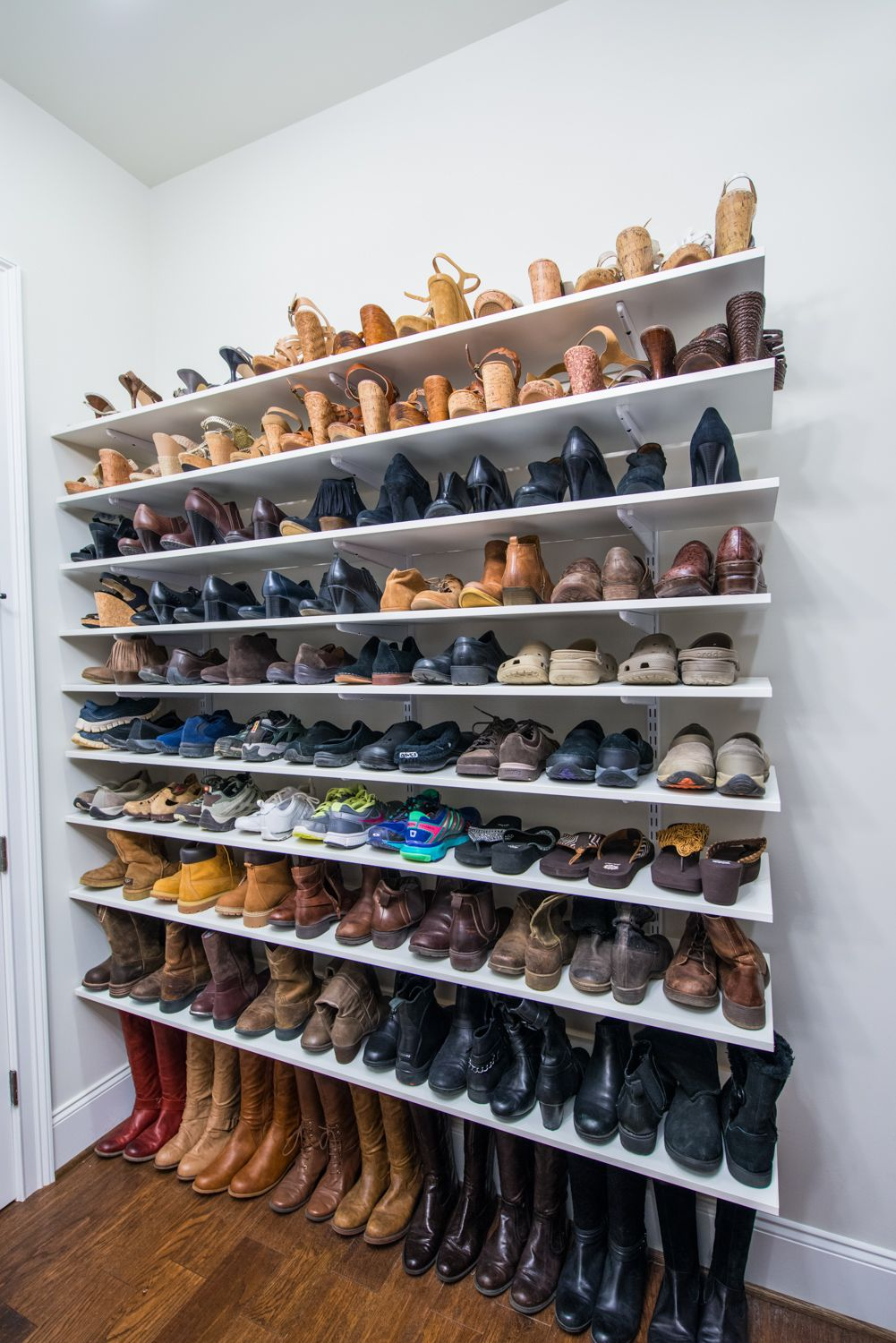 easy ways and organize your shoe collection room diy floating shelves for shoes keep point with adjustable shelving like organized living freedomrail move the seasons change