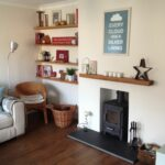 eclectic living room with oak floating shelves and log burner nice shelf for fireplace mantel cosy diy hidden drawer black gloss narrow shelving unit storage beautiful bathroom 150x150