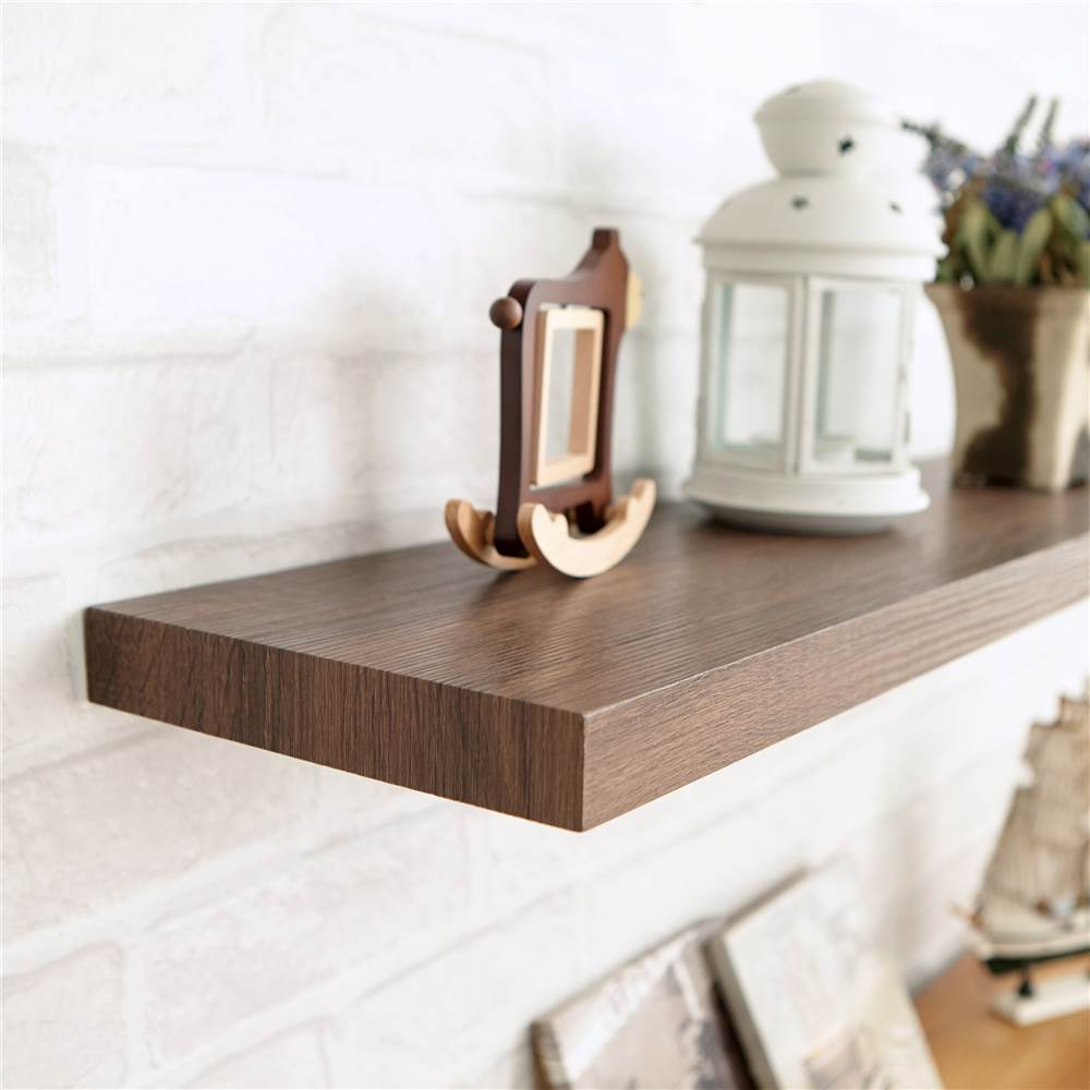 eco friendly floating shelf dark teak finish bwby wood shelves high shoe rack wall stand for cable box hidden gun furniture canadian tire coffee table simple bookshelf ideas large