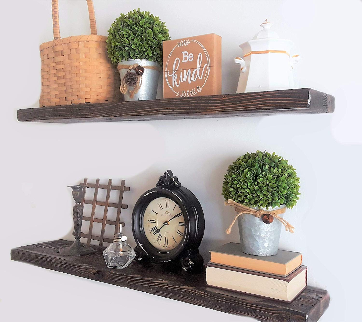ella max rustic wood floating shelves set dark with hidden brackets walnut inches home kitchen shelf board racks and railroad tie mantle wooden fire glass screwfix little bathroom