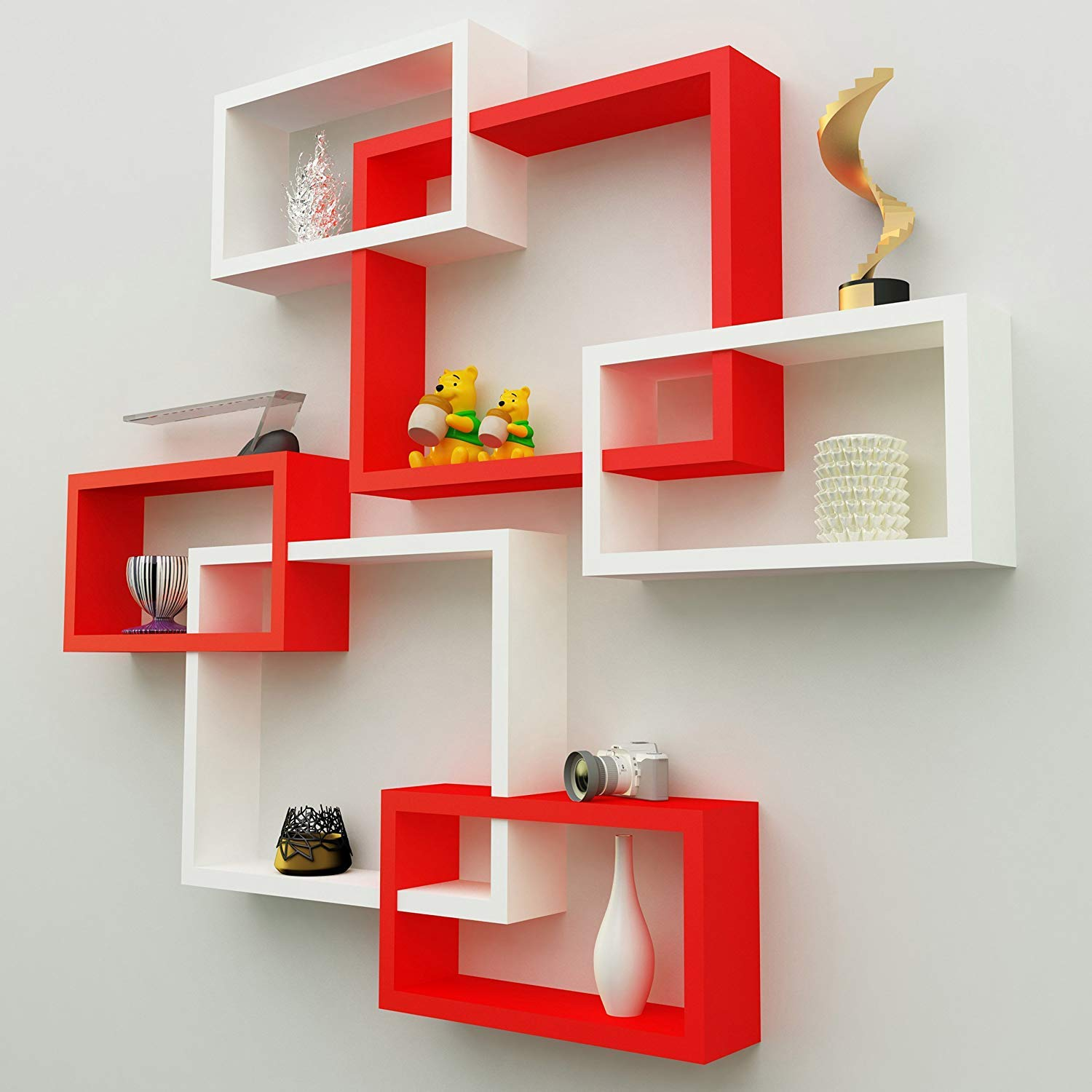 encore decor wall shelf rack floating shelves book for books intersecting display storage mount with red and white rustic fire surround hanging shoe cabinet distressed wood
