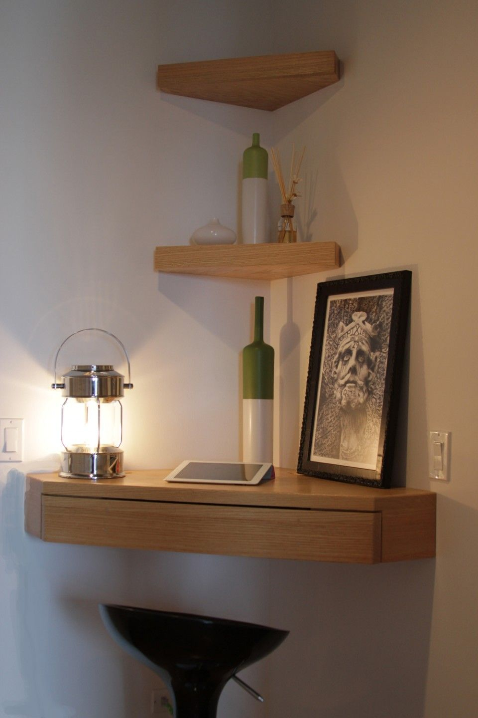 entrancing floating corner shelves design idea oak wood with triangle shelf three levels shape and adjustable closet shelving systems rustic screw supports decorative brass