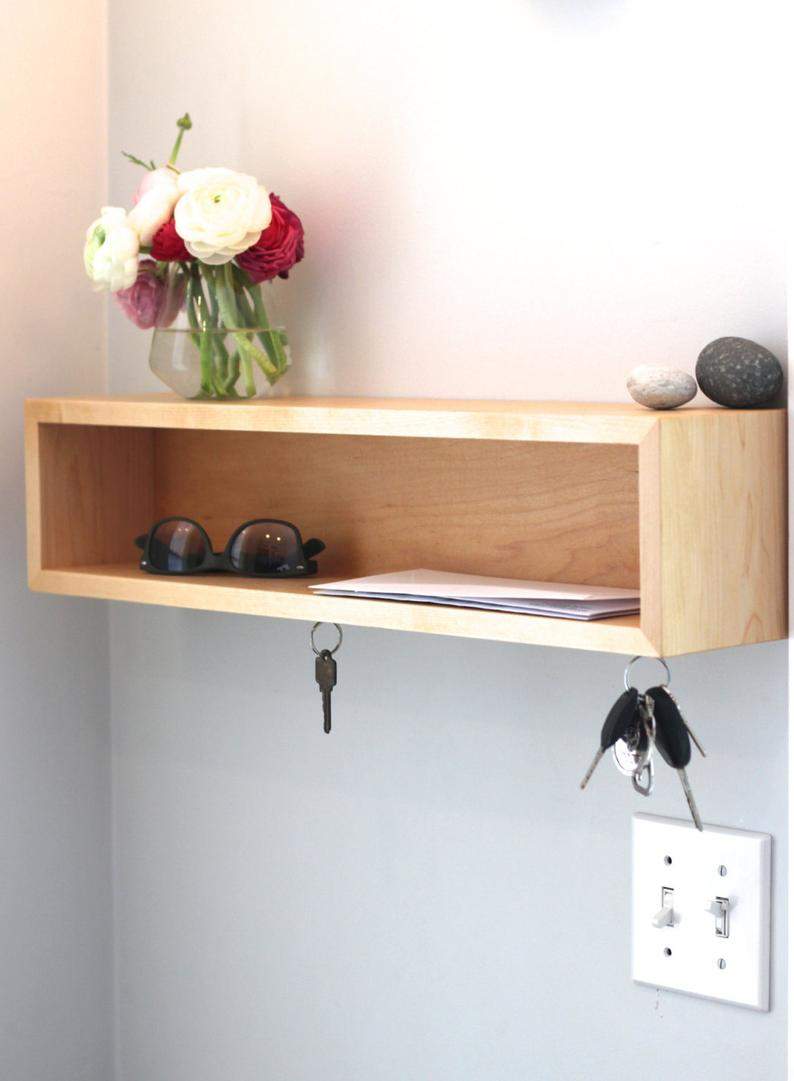 entryway organizer floating shelf with magnetic key hooks etsy bench hanging wall storage shelves decorative corbels for granite countertops wide unit industrial hardware folding