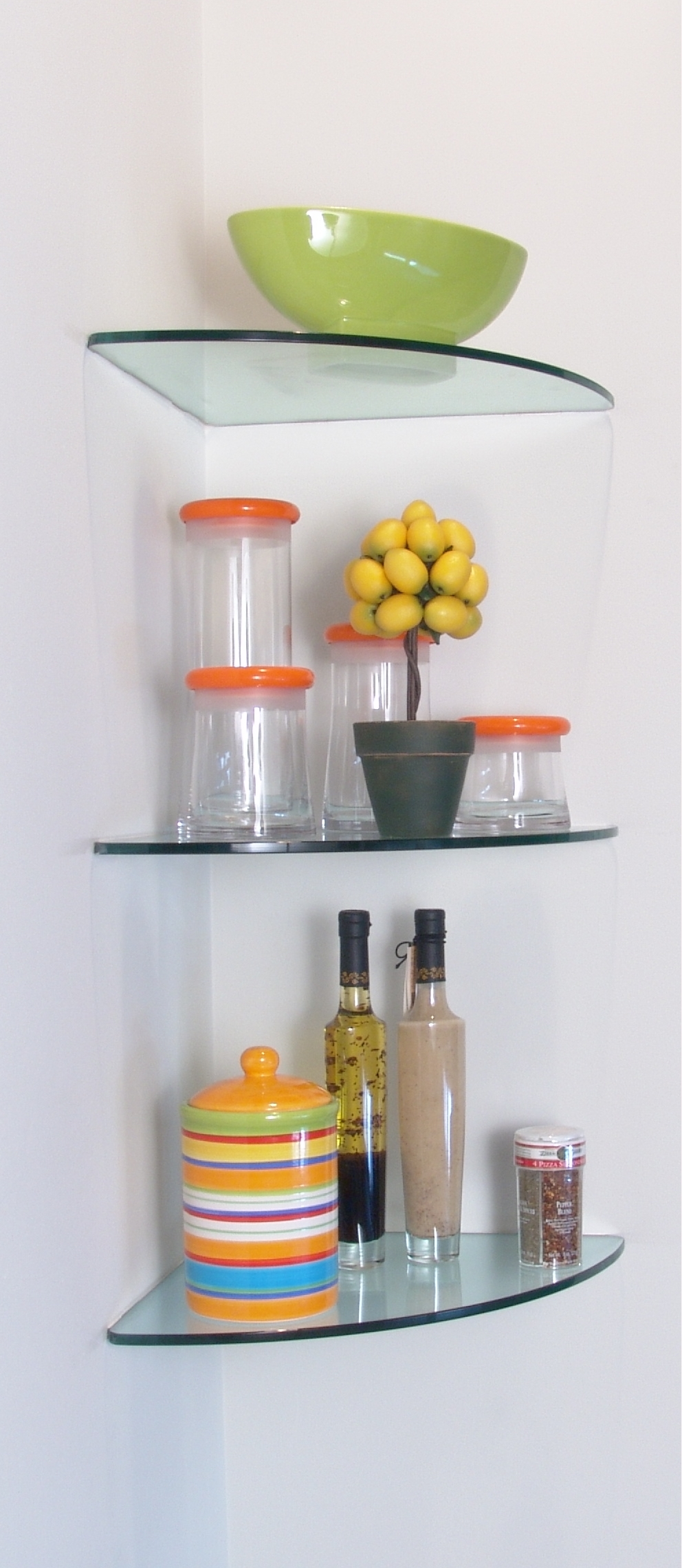 excellent glass corner shelves give elegant look your house interior one four helves for some utensils placed the white wall room floating shelf tall skinny metal shaped brackets