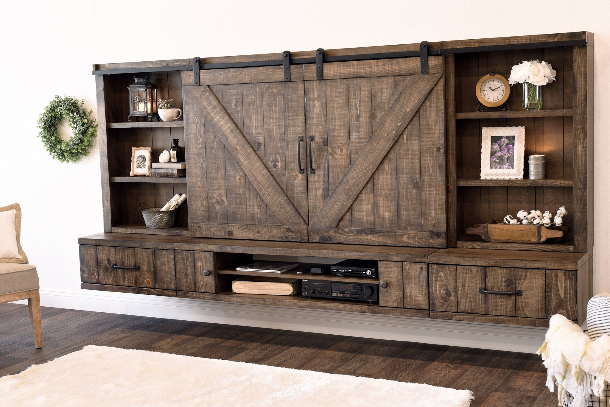 farmhouse barn door entertainment center floating stand wall woodwaves shelves for system home office built ins tiny kitchen island flying fireplace mantels houston shelving
