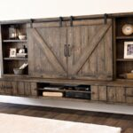 farmhouse barn door entertainment center floating stand wall woodwaves shelves system reclaimed hafele countertop brackets ribba shelf lack space saving desk ture wooden kitchen 150x150