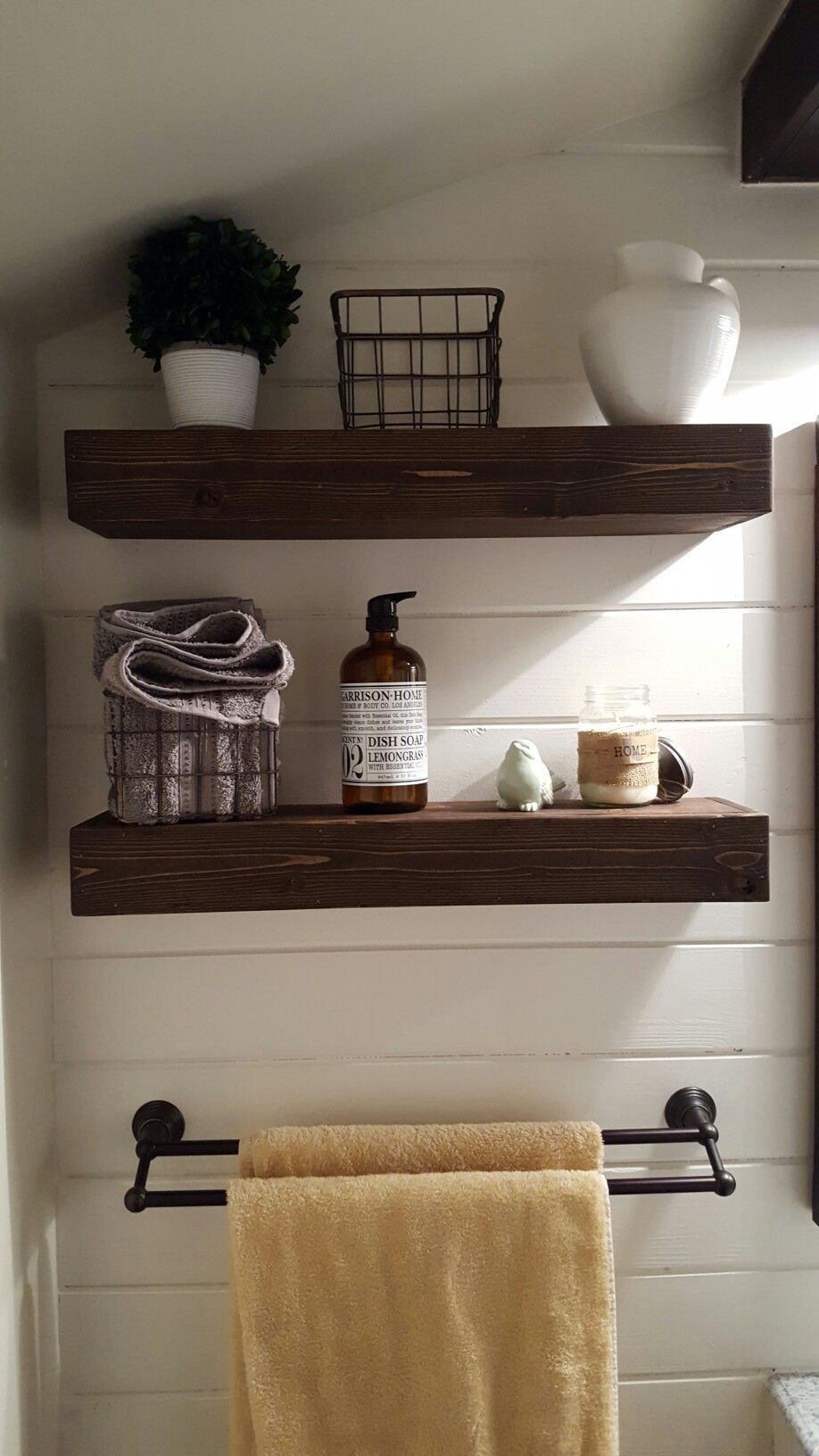 farmhouse bathroom decor floating shelves shiplap wall accent floatingshelvesdisplay office unit garment rack decking lights command strips for hanging floor bedroom glass dvd