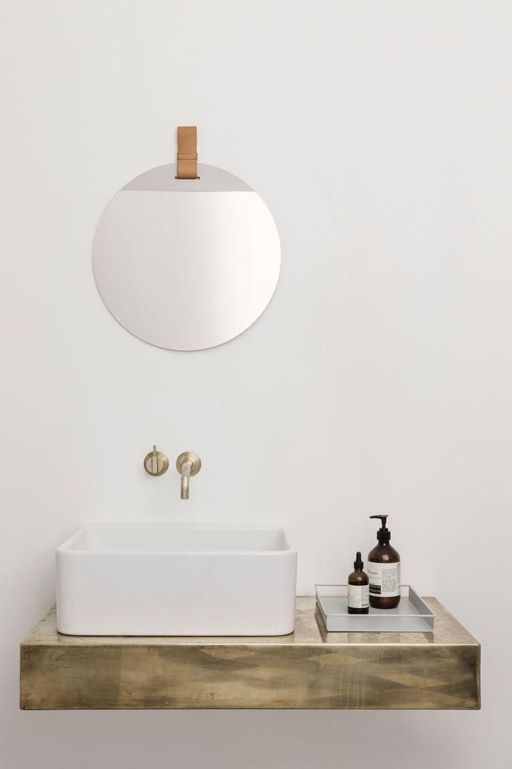 ferm living lines collection color neutrals mini bathroom basin floating shelf love this wood with sink wall mounted faucet clear organizing tray and frameless round mirror