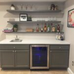 finally finished basement bar unfinished cabinets ikea countertop and floating shelves chairs magnetic secret latch hardware decorative wall for living room bathroom cabinet glass 150x150