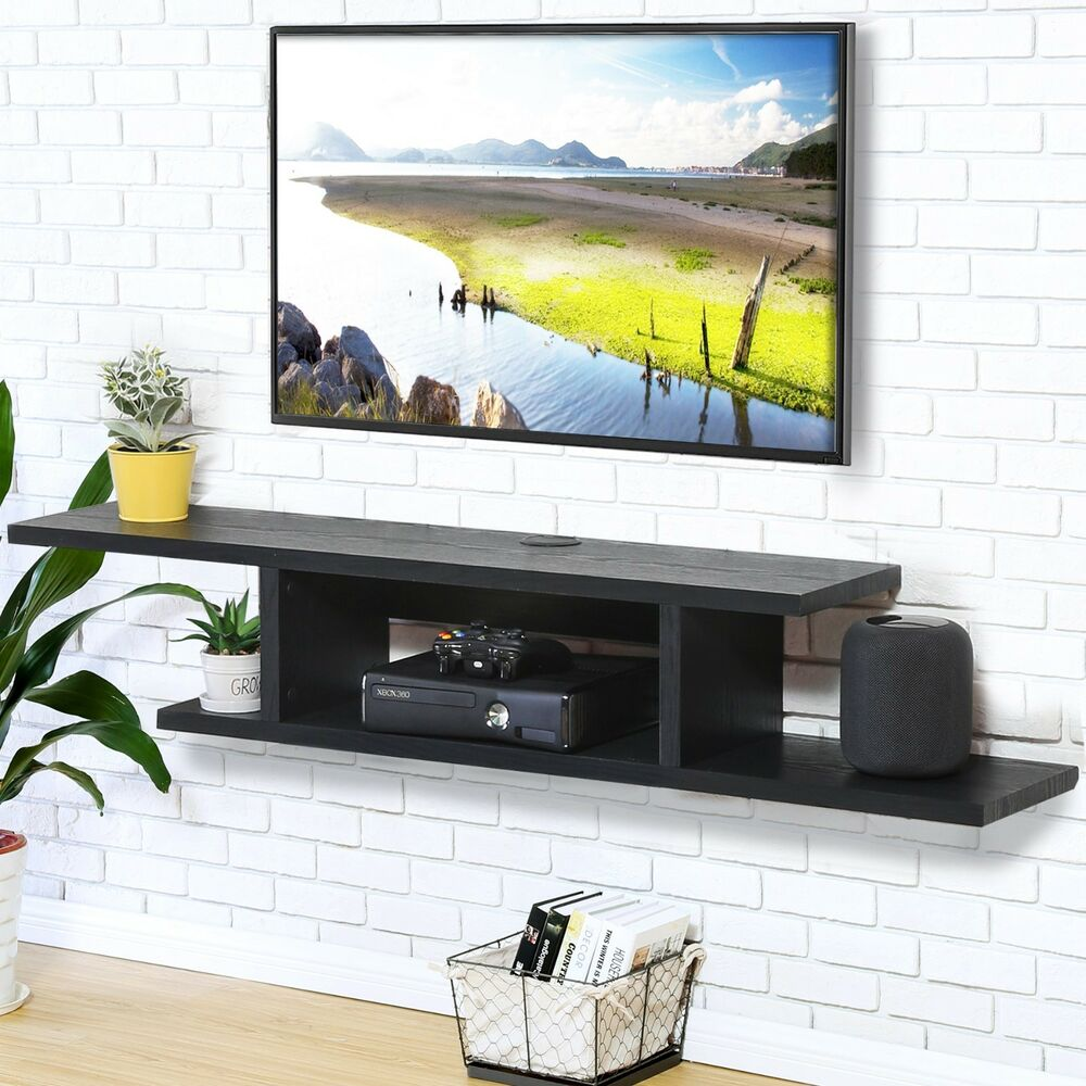 fitueyes wall mounted media console floating component shelf max details about holding wooden fire place surround wood and brass shelves diy shelving entrance coat hanger glass
