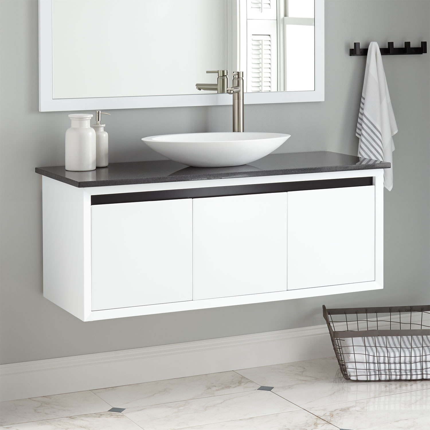 floating bathroom vanity signature hardware wall mount cabinet white vessel backsplash shelves cottee sink pipe clamp shelf oak fire kitchen pantry storage containers open