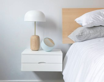 floating bedside table etsy ekra with drawer and shelf white double drawers design your wardrobe blue fabric wall storage units frame solid wood shelves unfinished wide oak quirky