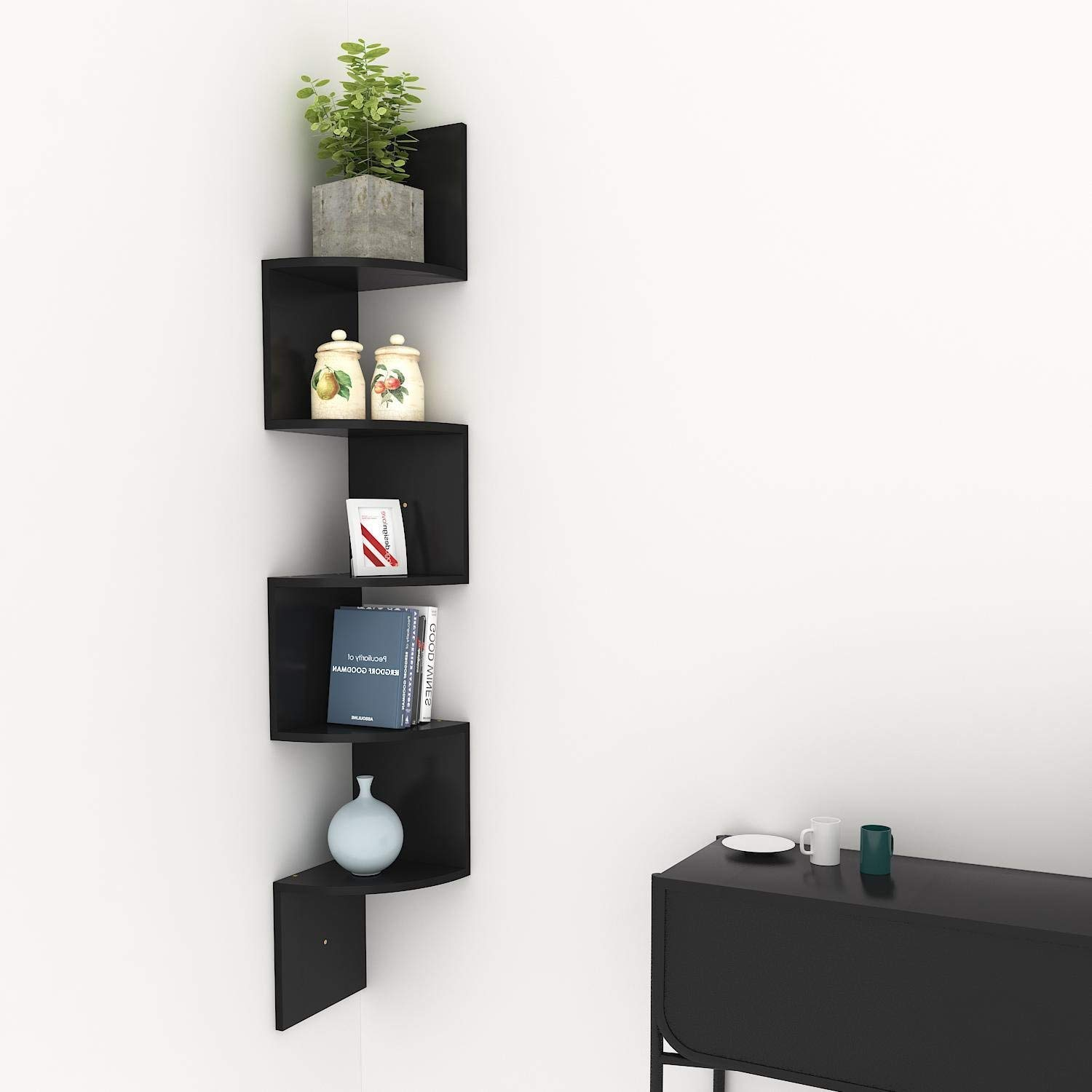 floating corner shelves black find shelf get quotations stock hindom home decor tier shape wall mount glass shower with rail kitchen organization containers building organizer
