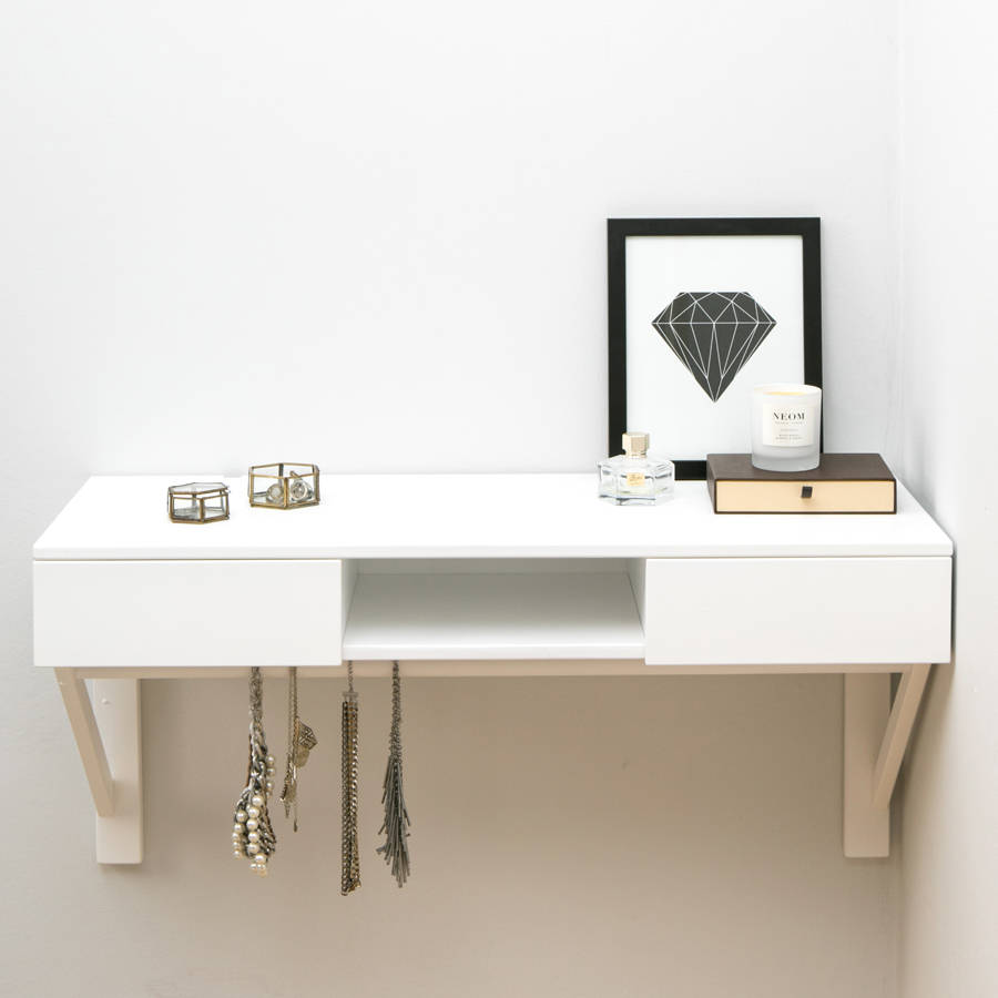 floating dressing table with drawers and jewellery rail urbansize original shelf unique coat racks wall mounted custom made shelves melbourne metal pipe rectangle box white gloss