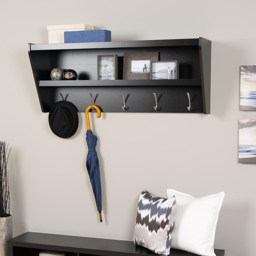 floating entryway shelf coat rack black bucw loading zoom track shelving adjustable shelves wooden storage unit adhesive liner kitchen lighting design stainless steel wall