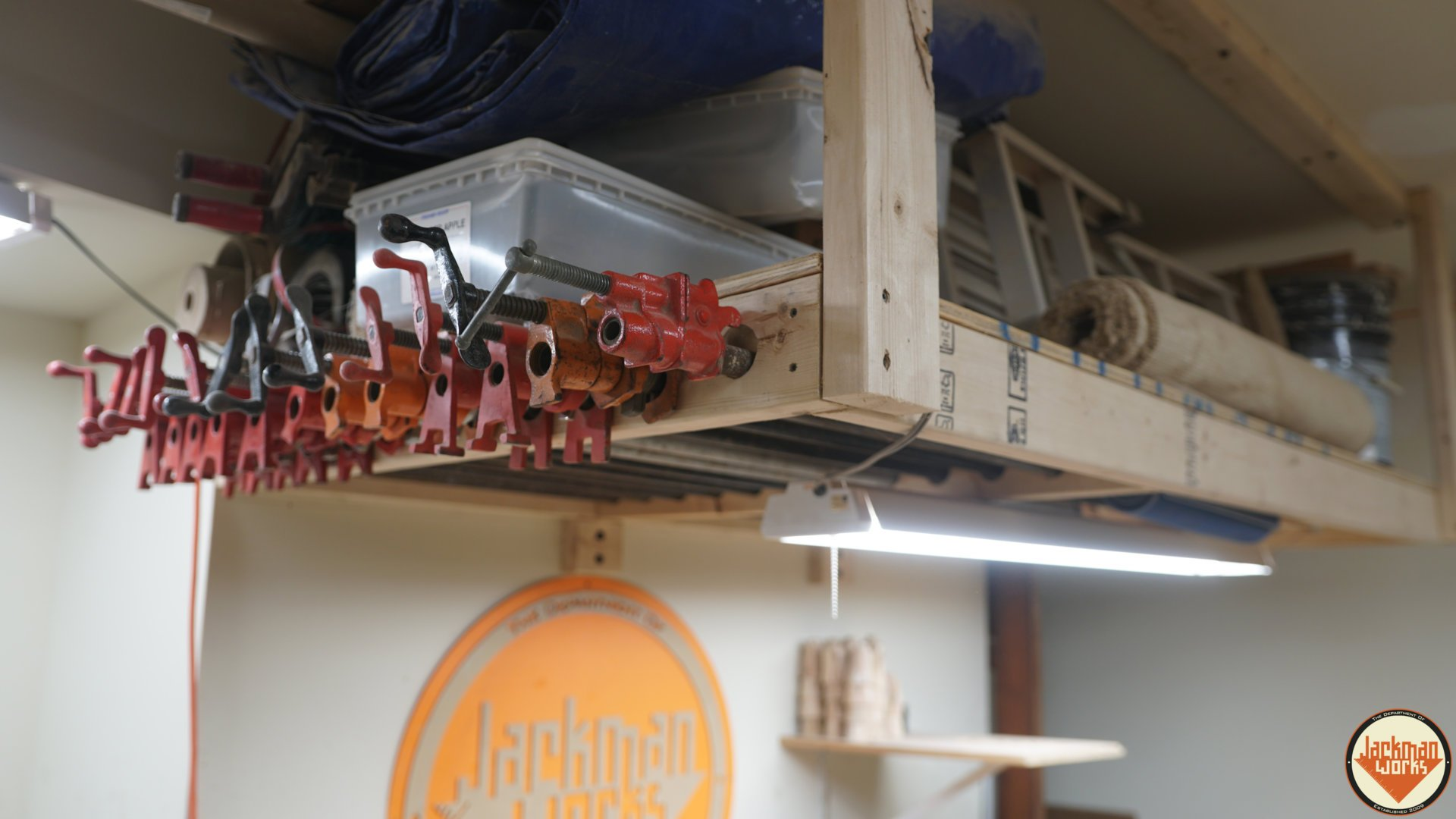 floating garage storage loft and clamp rack jackman works ideas small solutions plans woodworking projects shelves wasted space plywood inch brackets bunnings shelving kitchen
