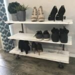 floating industrial pipe shoe rack organizer rustic shelf wood holder racks metal bookcase white kitchen without upper cabinets dark wall mounted shelves brown room decor best 150x150