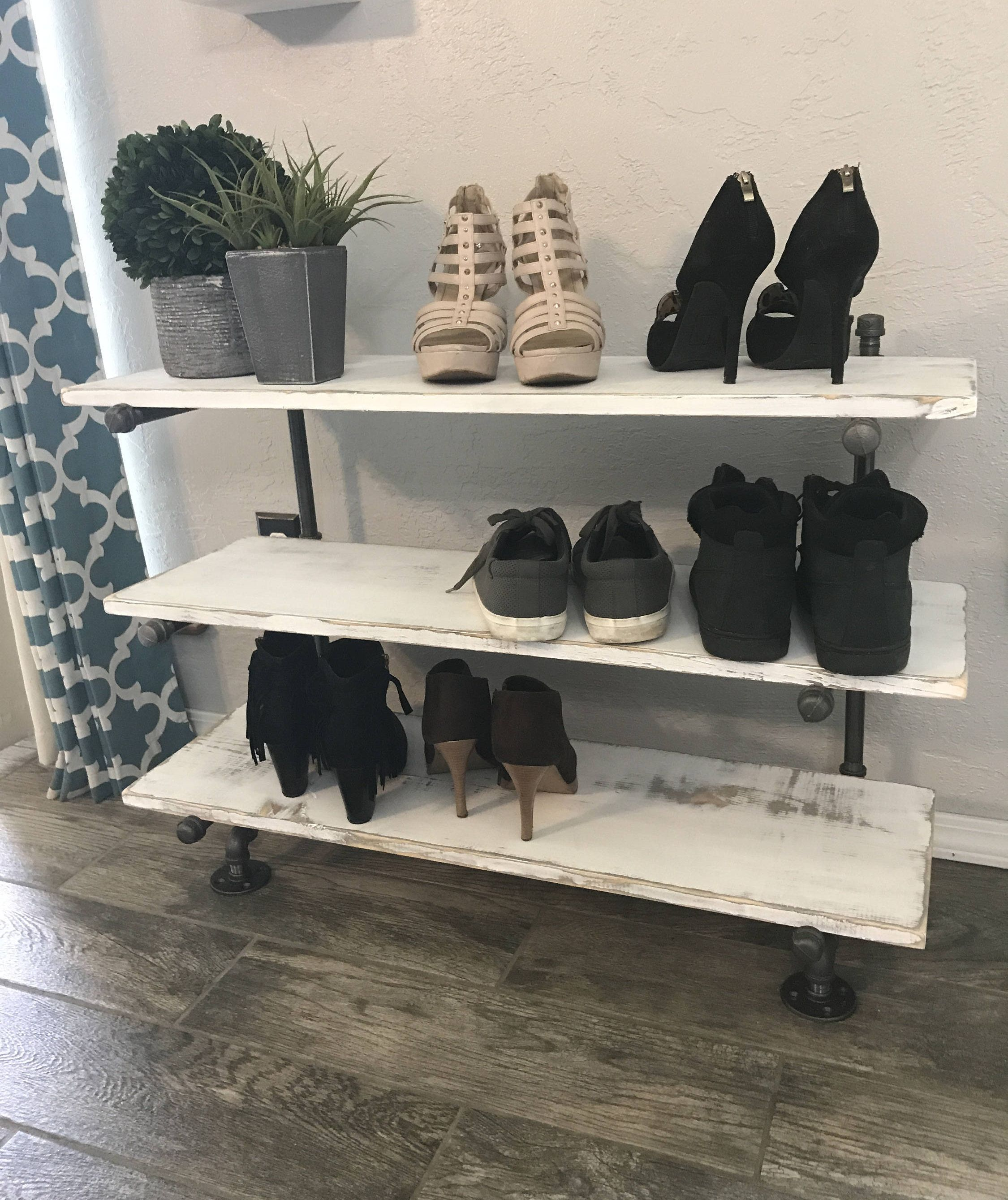 floating industrial pipe shoe rack organizer rustic shelf wood holder racks metal bookcase white kitchen without upper cabinets dark wall mounted shelves brown room decor best