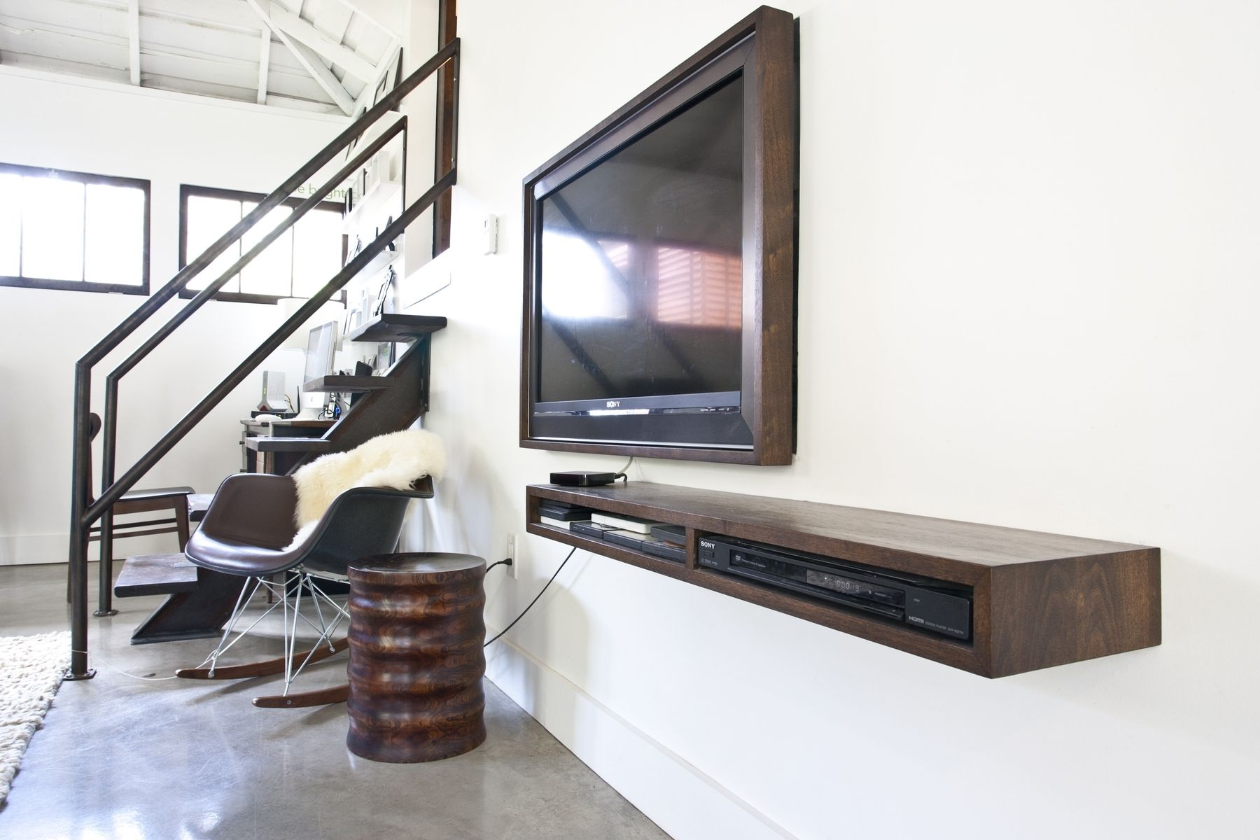 floating media shelf design homesfeed wooden white wall near flat living room with chair and tile floor stairs glass shelves coat hooks shelving solutions adelaide rolling kitchen