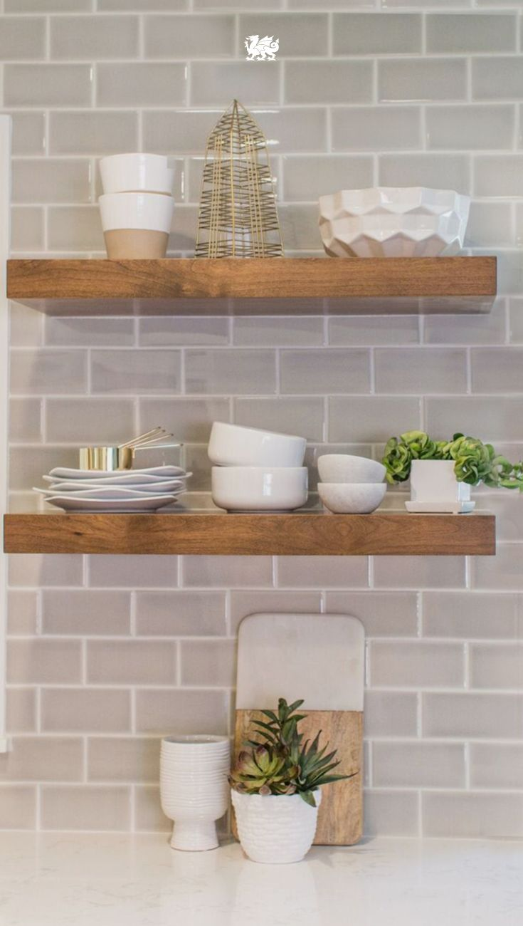 floating natural wood shelves against subway tile backsplash makes kitchen white perfect matchup for modern farmhouse style open shelving above quartz fancy glass units brisbane