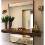 floating shelf and large mirror wall behind exposed above shelves below likely installed entrance home oak bookshelf glass brackets unfinished wood mantel hanging hooks without 150x150