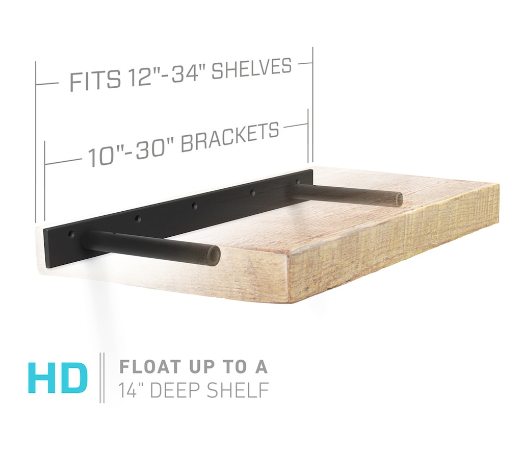 floating shelf bracket fits inch shelves deep white our heavy duty two bar brackets float kitchen top organizer unit oak wall bookshelf reclaimed wood beam boot hangers ikea
