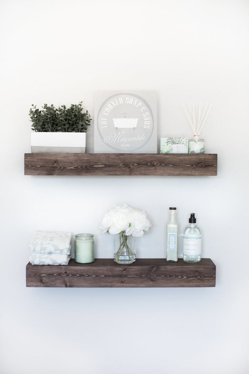 floating shelf rustic ledge wooden etsy cpyw chunky with drawer studs afloat homebase storage cupboards home loft concept wegner chair diy built wall shelves threshold