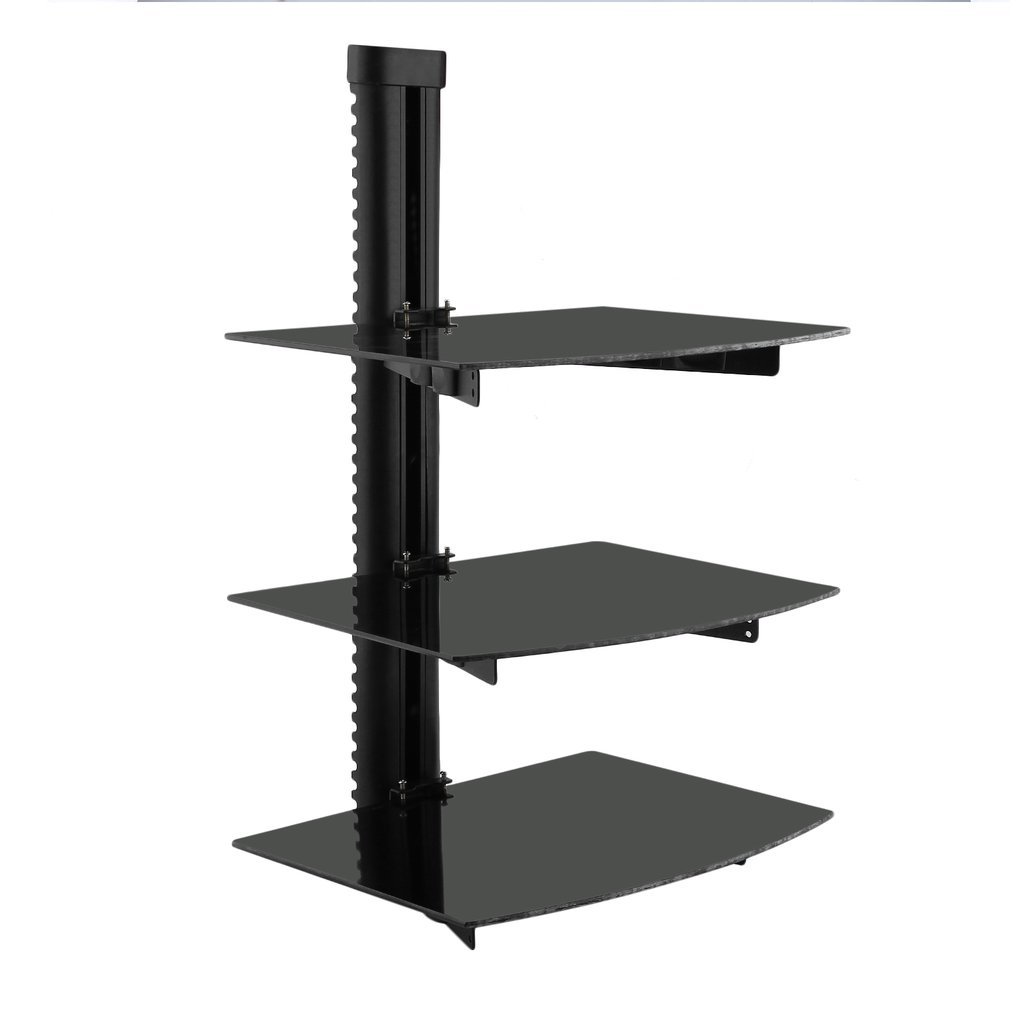 floating shelf with strengthened tempered glass for dvd players cable boxes games consoles accessories black brass shower fixtures display unit inch deep bookcase ikea besta extra