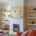floating shelves both sides the fireplace give sense beside balance and harmony diy hidden compartment furniture homebase wall open shelving white garage storage bins desk with 150x150
