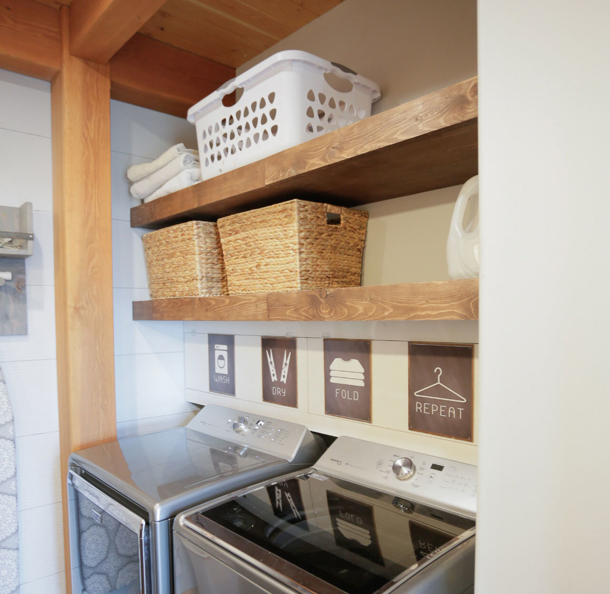 floating shelves pull out drying racks and hanging rods ana white rack laundry room diy but with this small space couldn live myself the didn something that big issue oak cube