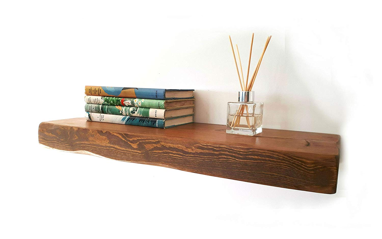 floating shelves reclaimed solid wood rustic wall shelf medium oak finish long perfect for living room kitchen bathroom office veneer food storage cabinet vinyl floor tile