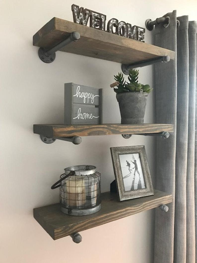 floating shelves set deep gray etsy rustic fireplace mantel shelf brackets kitchen garage storage options plastic shelving units canadian tire entry bench bracket nursery romak