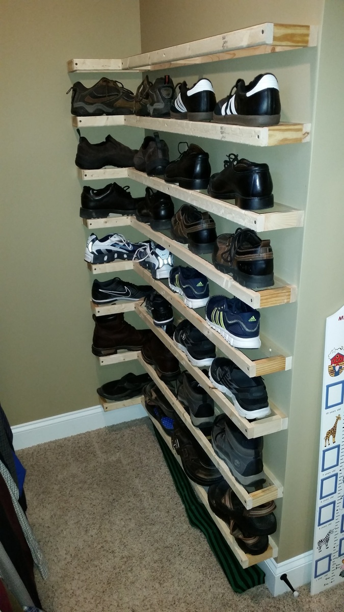 floating shelves show storage ana white for shoes after this ture was taken have piece lauan each shelf complete project hopefully someone can take idea and adapt your traditional