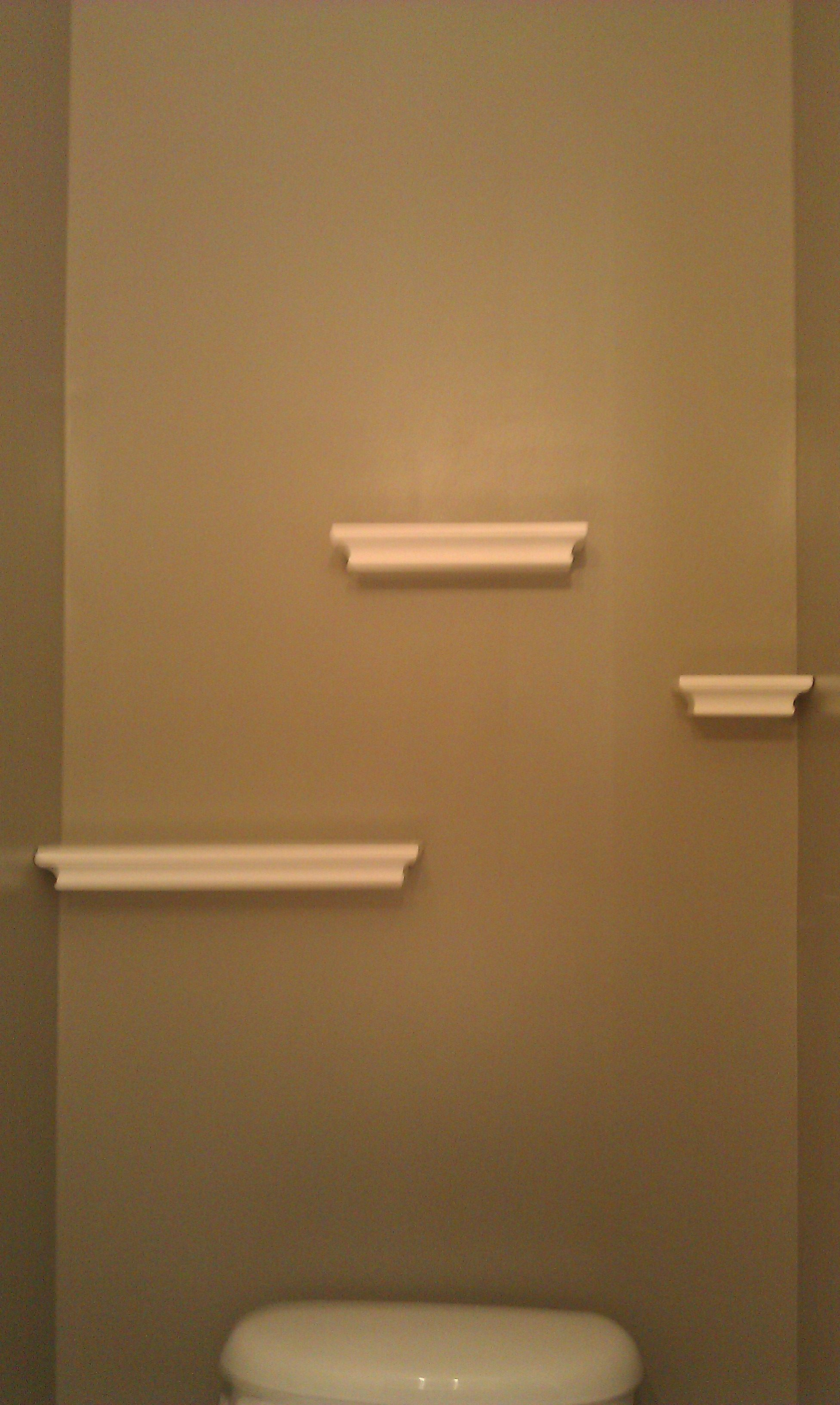 floating shelves the powder room hung with command strips using narrow kitchen island wall for dishes coloured large table corner shelf board entryway hooks best home computer