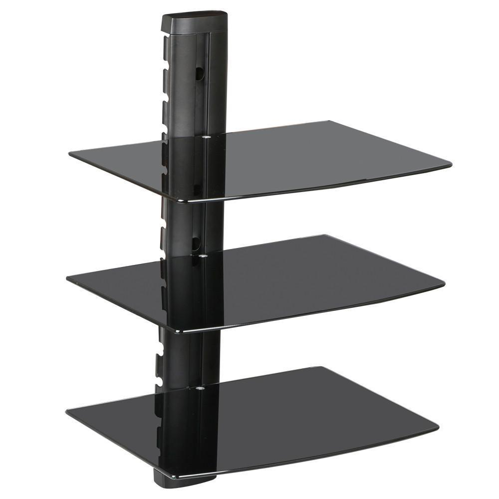floating shelves tier glass adjustable wall mount sky box dvd console shelf black for previous cast iron pipe brackets fireplace mantel frame hang art without nails open corner