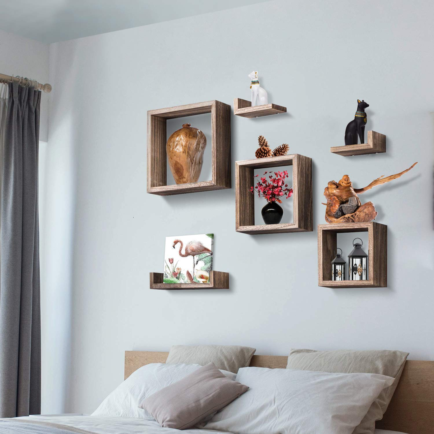 floating shelves wall mounted shelf with square boxes box frame and for grouping set rustic wood storage bedroom living room inch hooks mitre vertical hat rack racks shaped corner