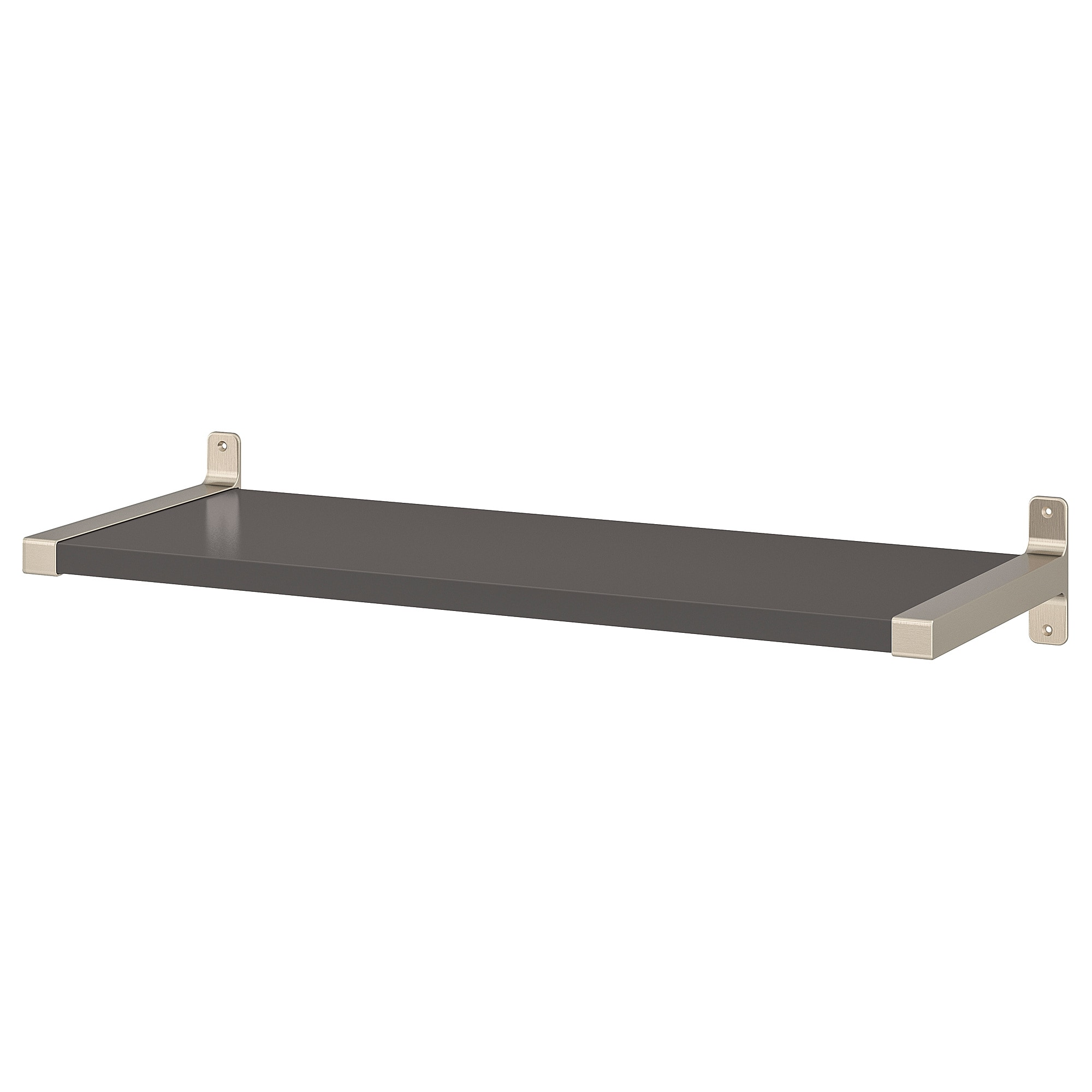floating shelves wall shelf brackets ikea granhult bergshult dark grey nickel plated light quarter round corner heavy duty shelving homebase deep average closet height large glass