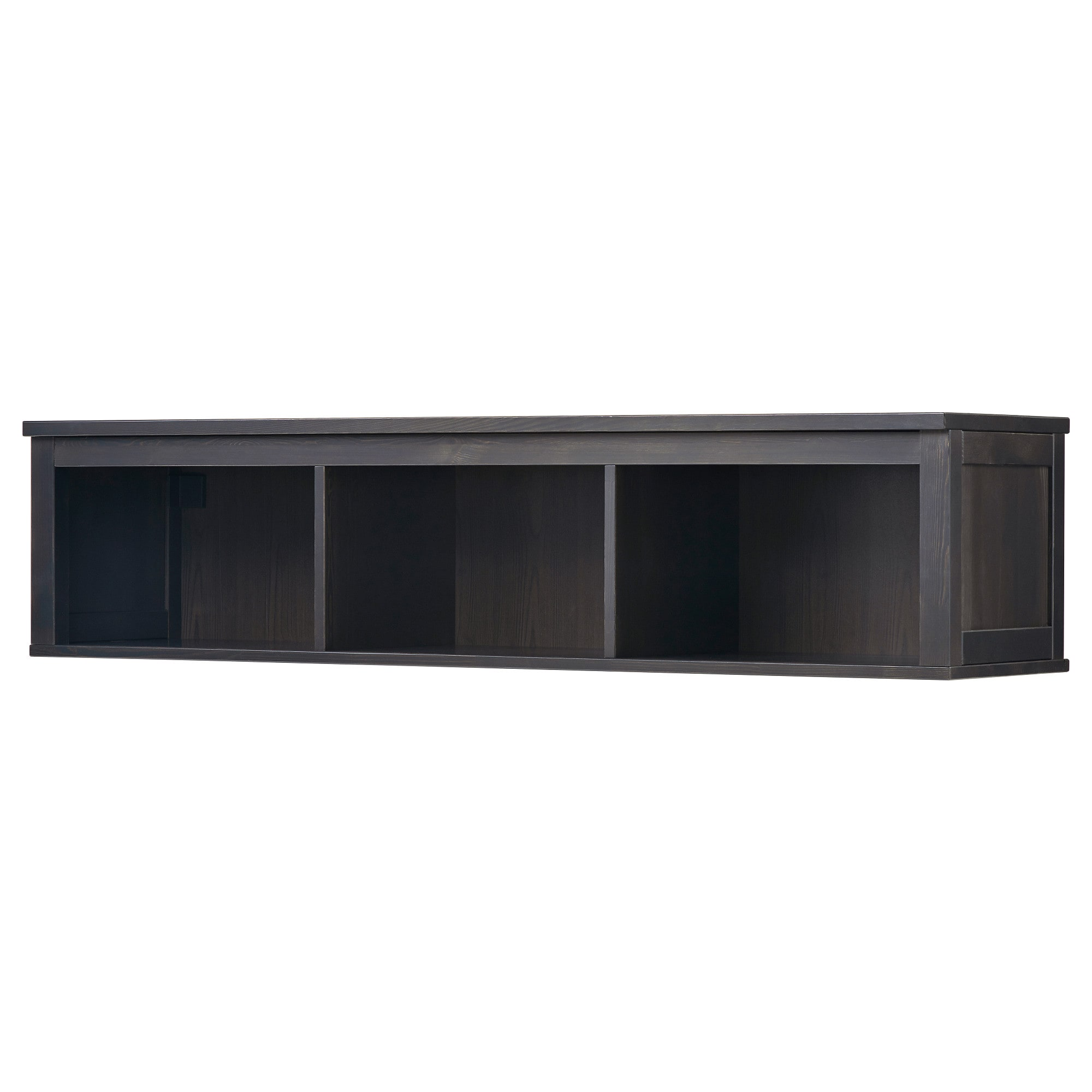 floating shelves wall shelf brackets ikea hemnes bridging black brown and solid wood has natural feel wooden corner stand metal coat rack mounted garage storage systems ribba ture