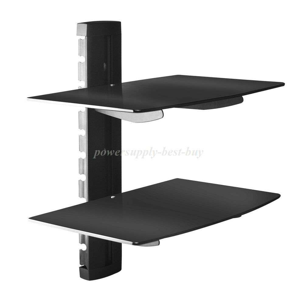 floating tempered glass shelves black sky box xbox wall for details about mount bracket pottery barn leaning shelf kitchen food organizer antique drop front secretary desk hat and