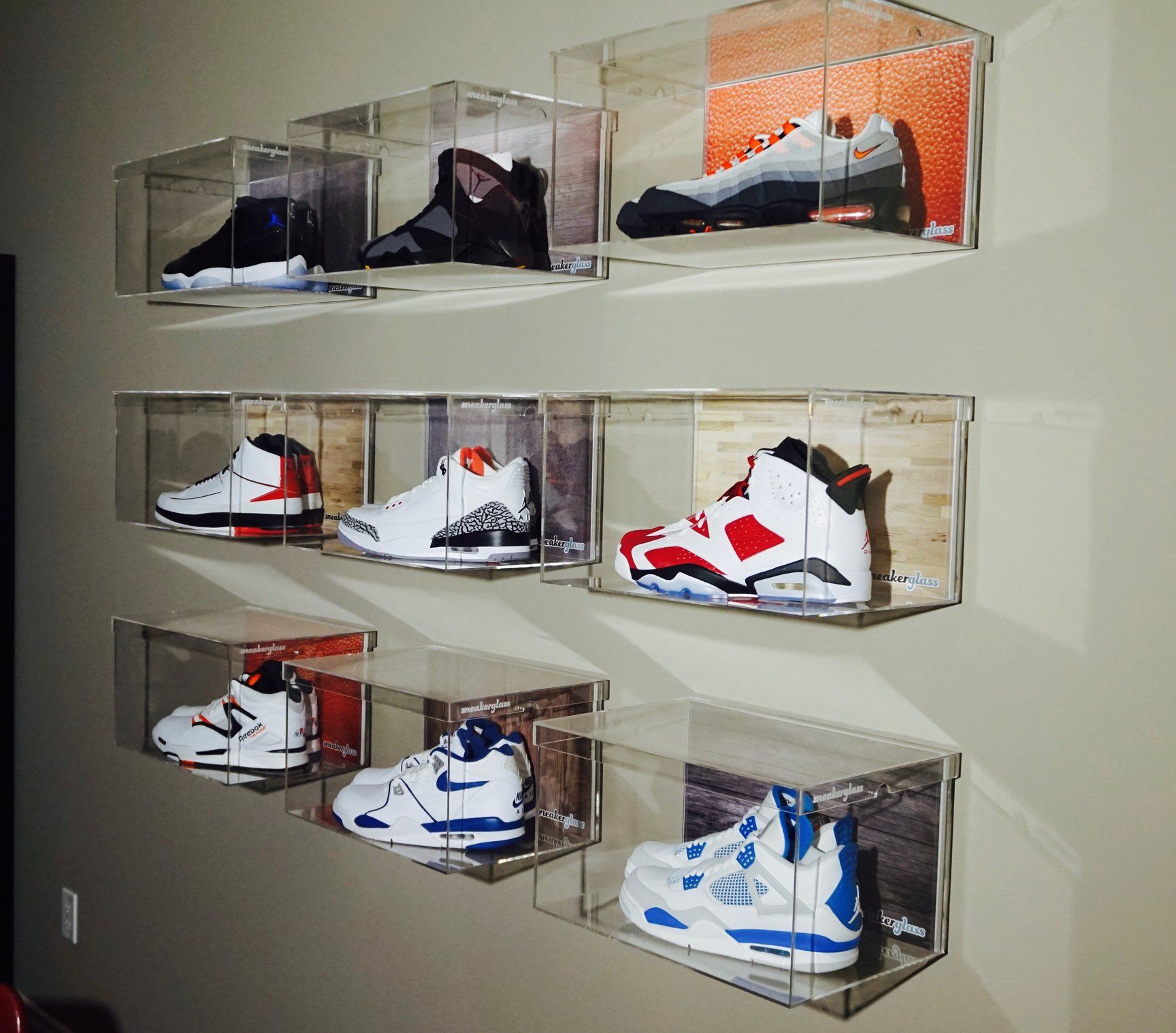 floating wall box large basement shoe displaying shelves for shoes mount sneakerglass premium sneaker display solution the your air yeezy collection kitchen island storage ideas