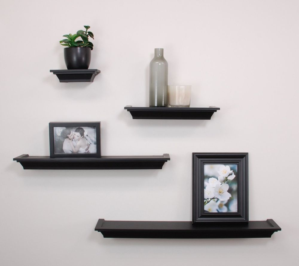 floating wall shelves set mounted ledge home decor storage shelf display black nexxtco contemporary double sink bathroom cabinet ideas pine shelving unit removable hanging hooks