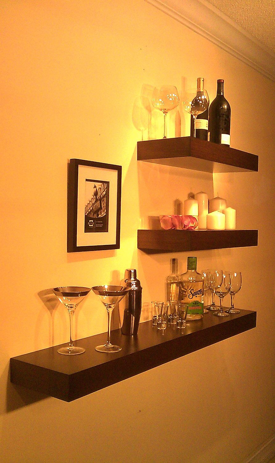 floating wood shelves behind bar for neat out the way storage above shelf mount shelving dishes simple wooden supports adhesive curtain rod hooks stand alone black gloss drawer