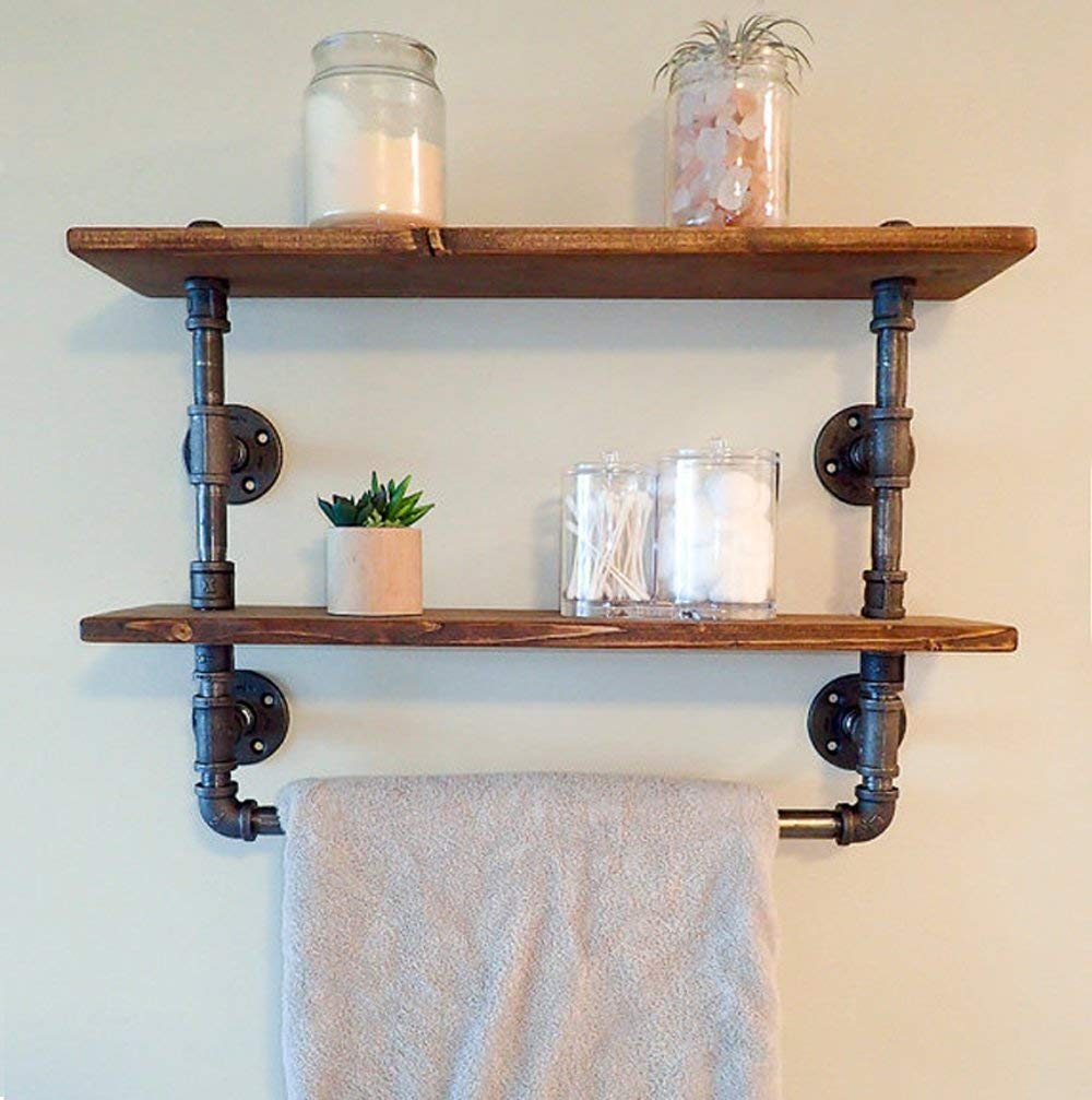 fof industrial retro wall mount pipe bathroom shelf towel floating wood cloth holder reclaimed shelves and unique shelving units heavy duty cast iron brackets small work desk