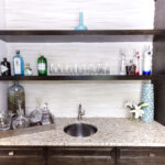 friedman wet bar basement floating shelves marietta this was part full remodel includes custom cabinetry quartz countertops and tile pull out simple wood for garage eames shelving 150x150