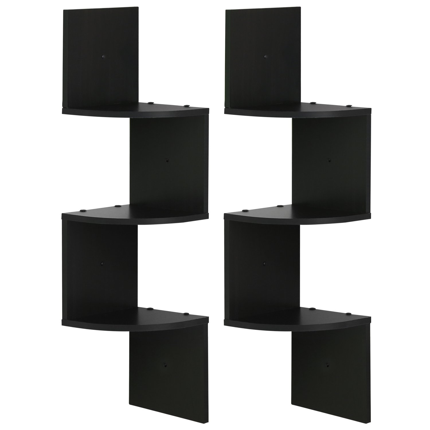 furinno radial shelf set tier espresso floating corner kitchen dining chunky wood mantel concealed support screwfix wooden dvd unit coat stand tree ikea shoe storage units ribba