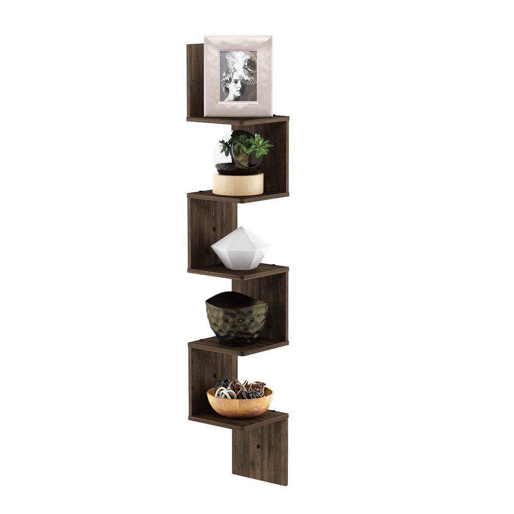 furinno tier columbia walnut wall mount floating corner square decorative shelving accessories unfinished shelf plastic shoe storage boxes ikea shelves that hang from ture rail
