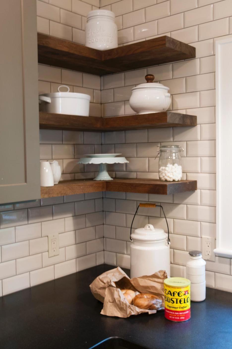 furniture walnut reclaimed pine wood floating kitchen shelves above black countertop white corner brick tile backsplash cool ideas closet shelf dividers wall mount dvd storage