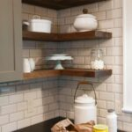 furniture walnut reclaimed pine wood floating kitchen shelves above black countertop white corner brick tile backsplash cool ideas diy rustic shelf brackets mitre storage box 150x150